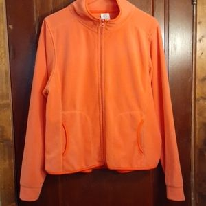 Orange Coral colored Fleece zip up Jacket
